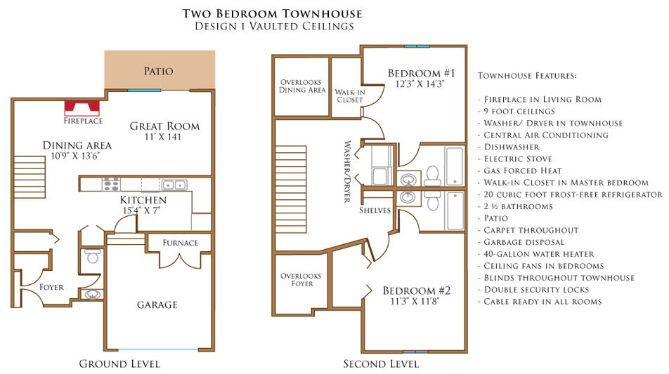 Two Bedroom Townhouse With Vaulted Ceilings | Stone Prairie Rental Community