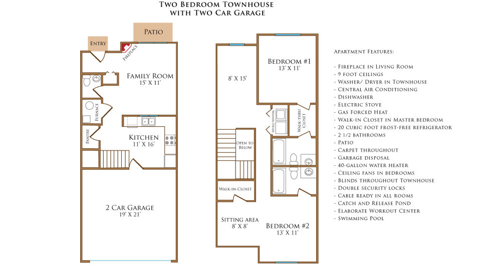 Two Bedroom Townhouse With Two Car Garage | Stone Prairie Rental Community